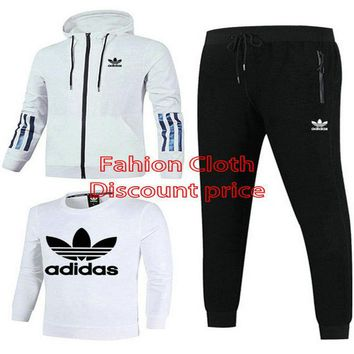 Adidas Jacket Sweater New Style Fashion Trend Three-Piece Suit For Men 18928 L-4XL Grey Black