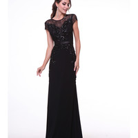Black Sequin & Embellished Cap Sleeve Gown 2015 Prom Dresses