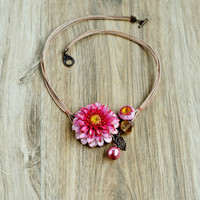 Pink floral necklace Botanical jewelry Statement flower Bib necklace Bohemian chic Jewelry bridesmaid Pink wedding gift Necklace statement