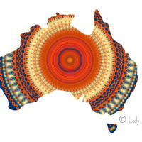 Australia Map Poster Print - blue, red and yellow decor, geometric art navy blue and coral world map poster, home decor wall art, dorm decor