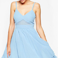Light Blue Spaghetti Strap Skater Dress