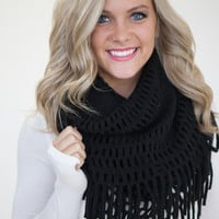 Snow Day Infinity Fringe Scarf - Black