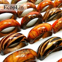 50Pcs - Unisex Wooden Rings - Mixed Pattern