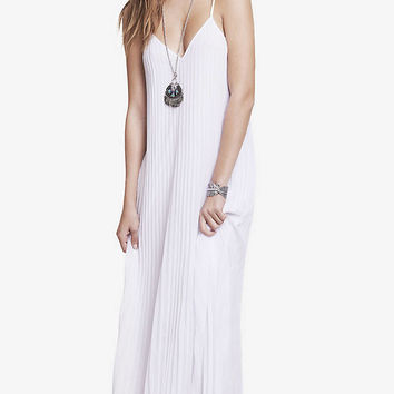WHITE ACCORDION PLEATED CHIFFON MAXI DRESS from EXPRESS