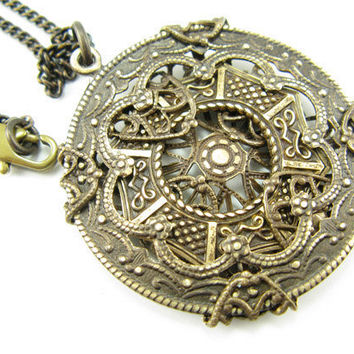 Brass Medallion Necklace, Multiple brass pieces wrapped into pendant, Brass chain Necklace
