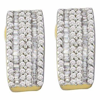 14kt Yellow Gold Women's Round Baguette Diamond Vertical Stripe Hoop Earrings 7-8 Cttw - FREE Shipping (USA/CAN)