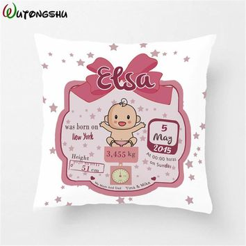Nursery Pillowcases Personalized Baby Pillow Case Decorative Throw Pillows For Kids Nursery Bedding Girl Custom Pillow Cover