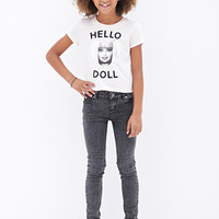 FOREVER 21 GIRLS Hello Doll Barbie Tee (Kids) Pink/Black