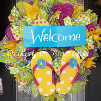 Spring Wreath, Summer Wreath, Flip Flop Wreath, Front door wreath, Wreath for door, Door Hanger, Summer Decoration, Ready to Ship