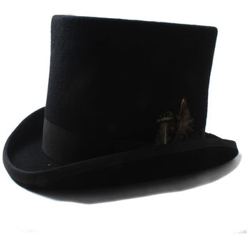17CM Wool Black Women Men Steampunk Top Hat With Feather Mad Hatter Victorian Church Fedoras Hat For Gentleman Performing cap