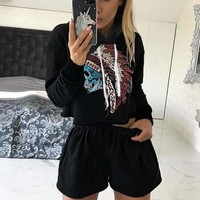 Hats Hoodies Print Crop Top Sportswear Set [11823629775]