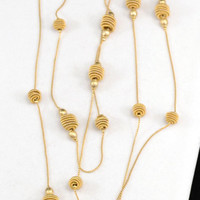 Long Gold Tone Chain Necklace, Flapper Necklace, Gold Necklace, Long Necklace        J710