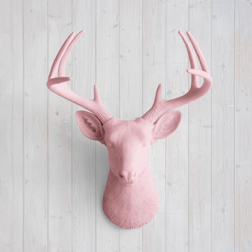 The Virginia Large Blossom Pink Faux Taxidermy Resin Deer Head Wall Mount | Blossom Pink Stag w/ Colored Antlers