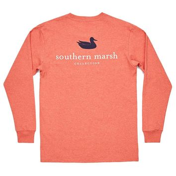 Authentic Long Sleeve Tee in Washed Red by Southern Marsh