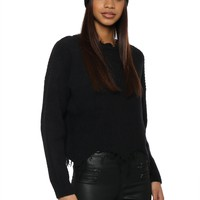 Fox & Hawk Distressed Mock Neck Sweater