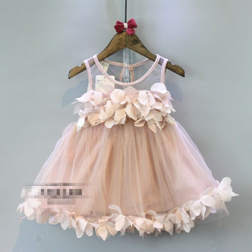 Sleeveless Pink Lace Flower Girls Party Dress