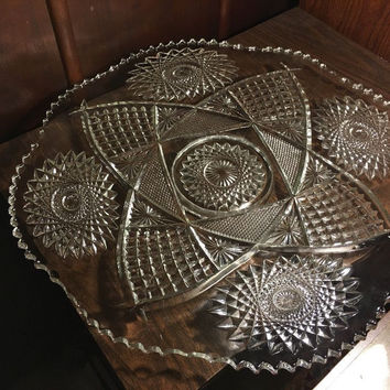 Large Stunning Crystal Glass Platter 19""