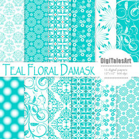 "Floral digital paper ""Teal Floral Damask"" flower digital clip art papers in teal, white, patterns, instant download, damask background"