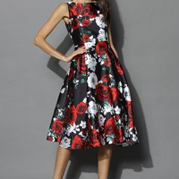 Brilliance Rose Print Prom Dress