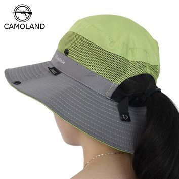Waterproof Bucket Hat Summer Men Women Sun Hat Fishing Boonie Hat UV Protection Wide Brim Bob Hiking Outdoor Ponytail Panama Hat