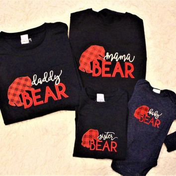 Mama bear and Daddy Bear t shirts, Sister Bear shirt, Baby Bear navy blue bodysuit, Family matching shirts, Red and black check pants