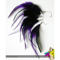 royal night // black and purple feather earcuff