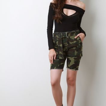 High Rise Camo Cargo Bermuda Shorts