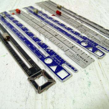 Collection of 6 Vintage Sewing & Knitting Gauges - Metal Sewing Gauge Group - Sears Gauge, Singer Gauge, Pelouze Sewing / Knitting Gauge