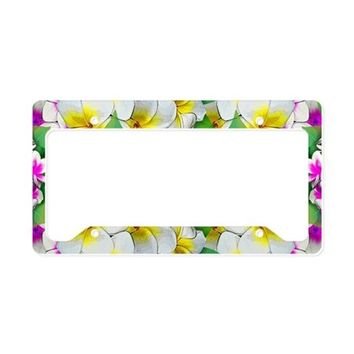 PLUMERIA FLOWERS BOUQUET LICENSE PLATE HOLDER
