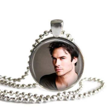 The Vampire Diaries Damon Salvatore 1 Inch Silver Plated Pendant Necklace