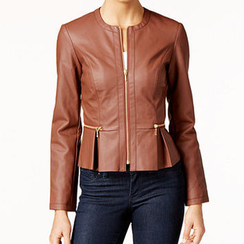 INC International Concepts Macy's Faux-Leather Peplum Moto Jacket, Only at Macy's | macys.com