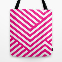 Pink and White Stripes Tote Bag by Liv B