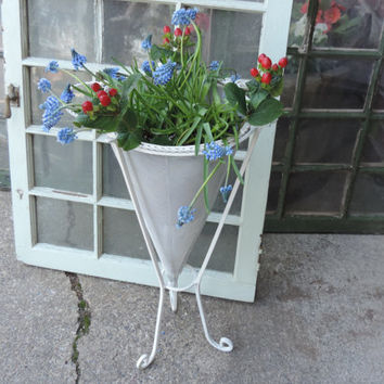 Vintage Plant Stand Rustic White Floral Stand Wrought Iron Plant Display Decor Upcycled with Annie Sloan Old White Chalk Paint