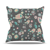 "Nika Martinez ""Cute Winter Floral"" Gray Pastel Throw Pillow"