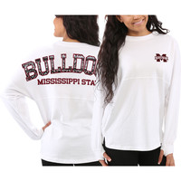 Women's Mississippi State Bulldogs White Aztec Sweeper Long Sleeve Oversized Top