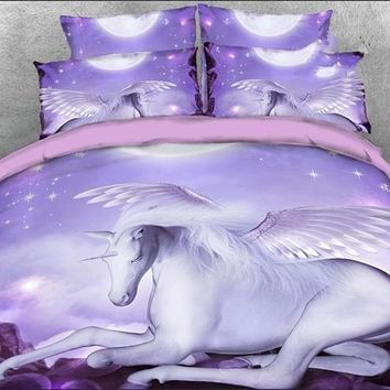 3D White Unicorn with Wings Printed Luxury 4-Piece Purple Bedding Sets/Duvet Covers
