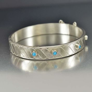 Vintage Persian Turquoise Silver Engraved Bracelet