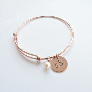 Rose Gold Initial Bangle Personalized Bracelet Personalized Bridesmaid Gift Bridesmaid Jewelry Graduation gift New Mom gift Grandmother Gift