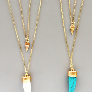 Double Horn Pendant Necklace - White or Turquoise