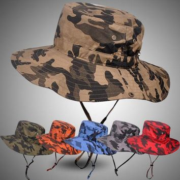 DCK9M2 Pluz Size Bucket Hat for Men Big Head Male Summer Outdoors Fishing Hat Women Camouflage Sunscreen Fisherman Sun Hat 59-63cm