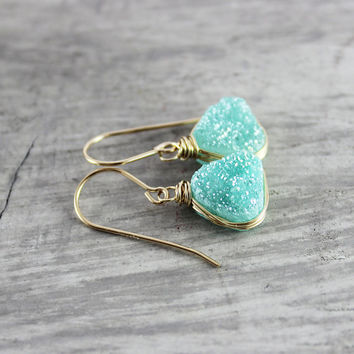 Green Druzy Earrings, Gold Fill Earrings, Light Green Earrings, Druzy Gemstone Earrings, Geometric Triangle Earrings, Wire Wrap Earrings