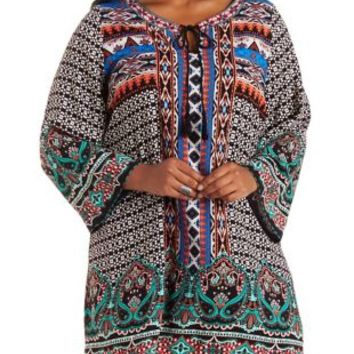 Plus Size Multi Border Print Shift Dress by Charlotte Russe
