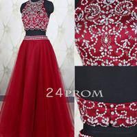 Custom Made 2 Pieces Burgundy Long Prom Dress, Evening Dress