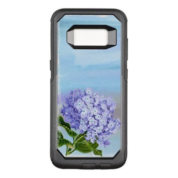 Pretty Blue Background Floral OtterBox Commuter Samsung Galaxy S8 Case