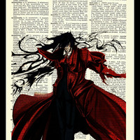 Hellsing Alucard Upcycled Dictionary Art Print Poster