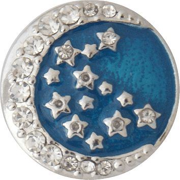 Snap Charm Blue Moon and Stars 20mm