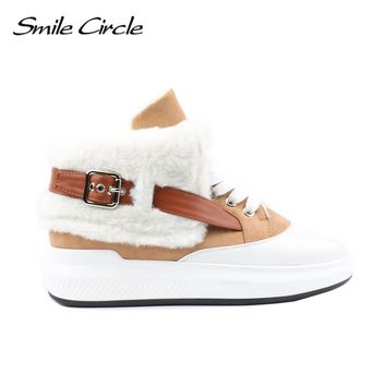 Smile Circle Winter Shoes For Women High-top sneakers Women Fashion warm Fur platform Shoes Snow Boots