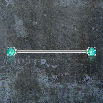 Teal Opal Industrial Barbell