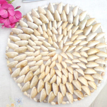 Placemat Set of 2 ,Cowrie Shells, Beach,Garden Dining,Table Decor, Sea Shells