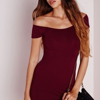 Missguided - Bardot Bodycon Jersey Dress Burgundy